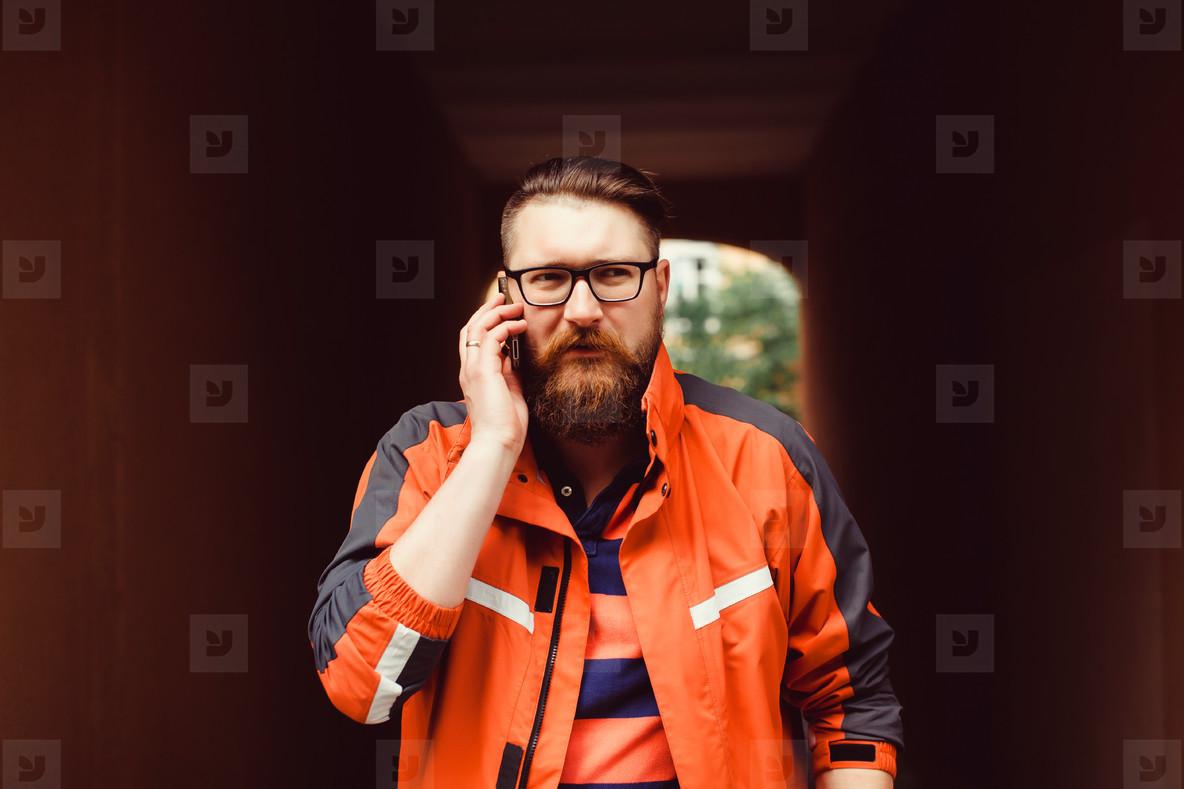 Bearded man calling