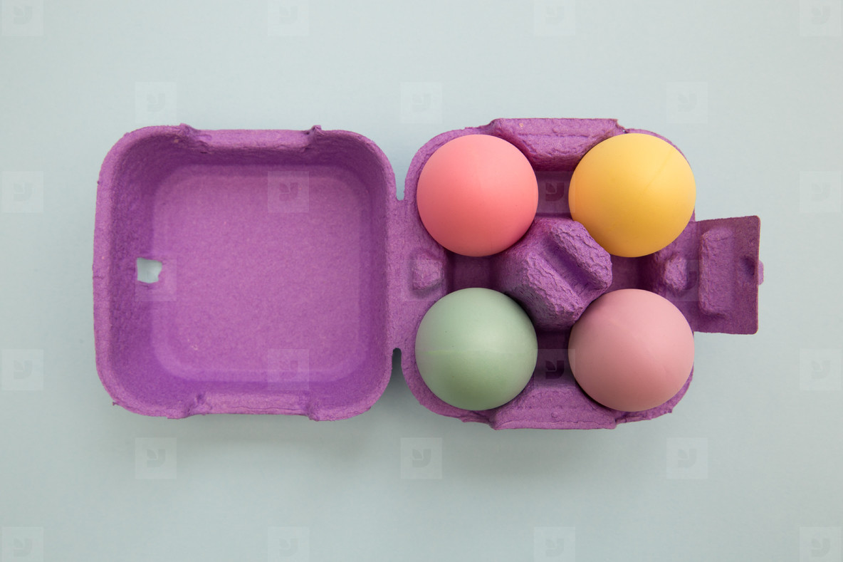 Colorful Easter eggs in box