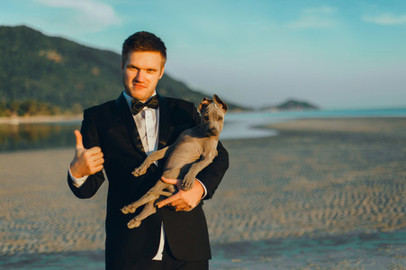 Handsome man with dog
