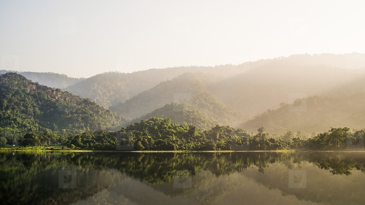Morning view of mountain river