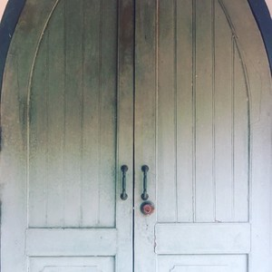 White wooden church door