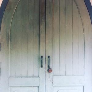 White wooden church door