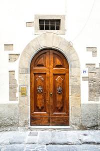 Old Wooden Door with Knockers