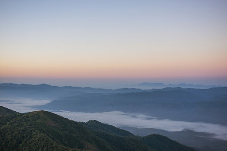 Fog in the mountains landscape