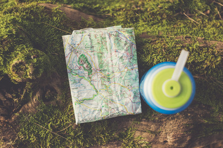 outdoor hiking rest wit map and