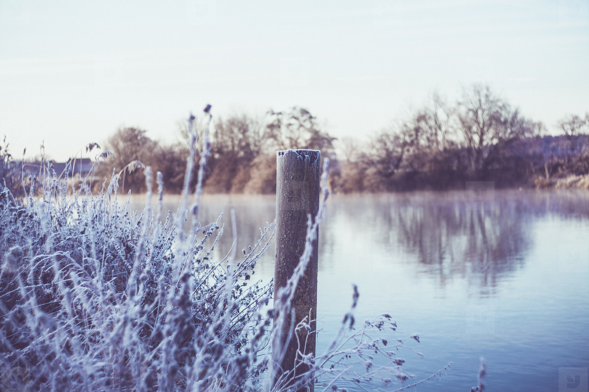 frosty lakeside ice crystal