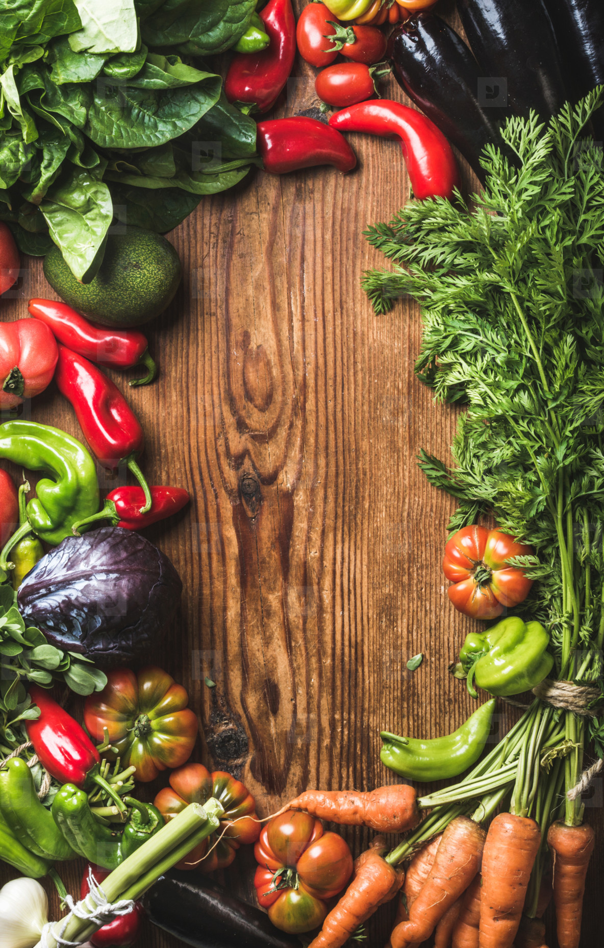 Fresh raw vegetable ingredients for healthy cooking or salad making over rustic wood background  top view  copy space  horizotal composition