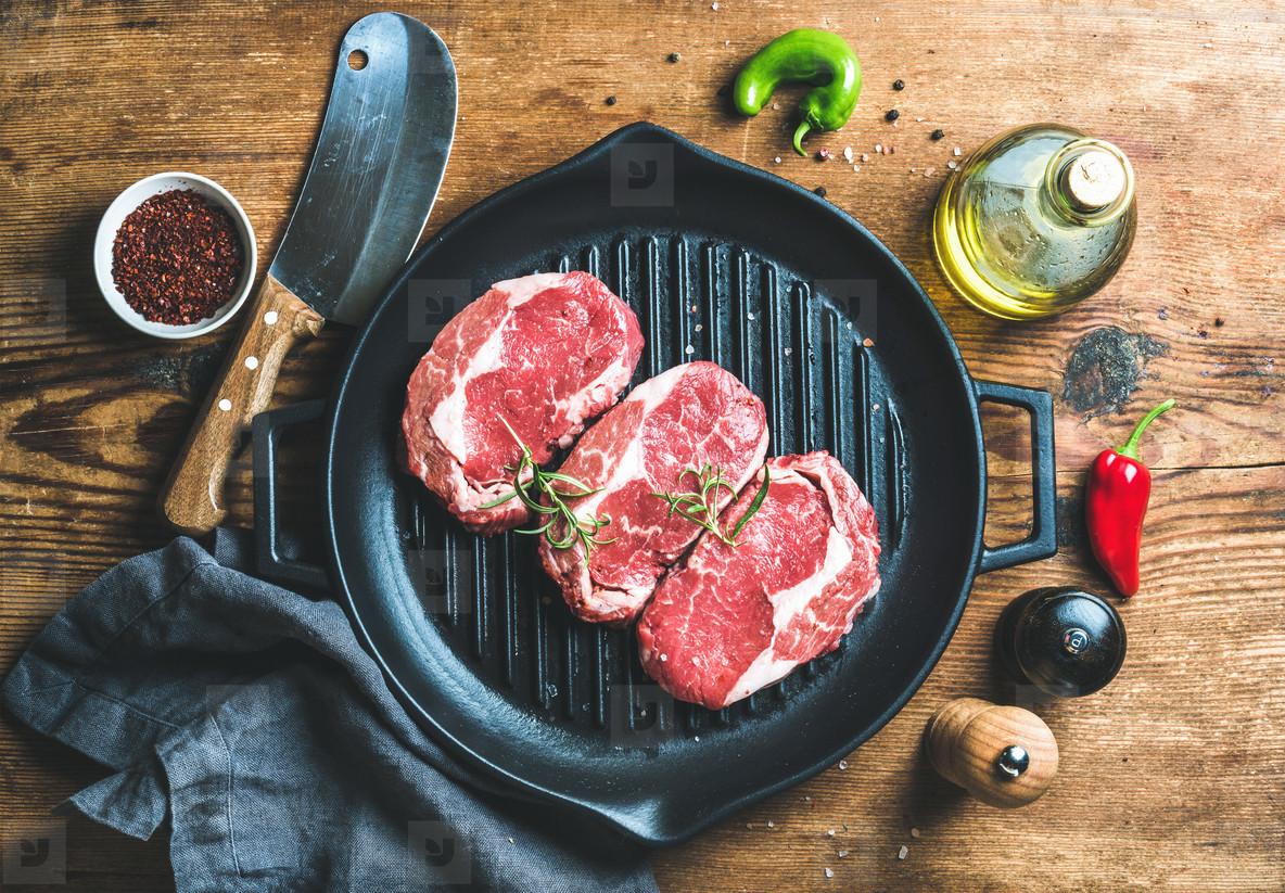 Ingredients for cooking Rib eye roast beef steak