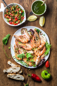 Plate of roasted tiger prawns