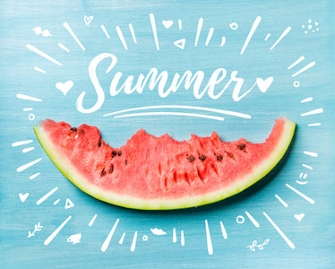 Summer concept illustration Slice of watermelon on turquoise blue background top view