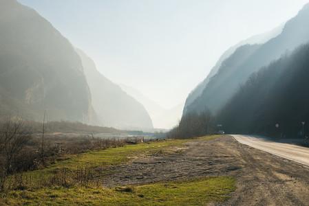 Georgian Military Road between Georgia and Russia The Caucasus mountains