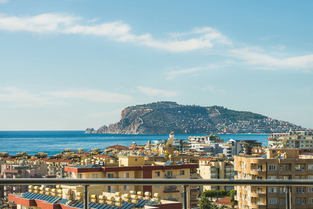 View over castle hill of Alanya  Turkey  and Mediterranean sea