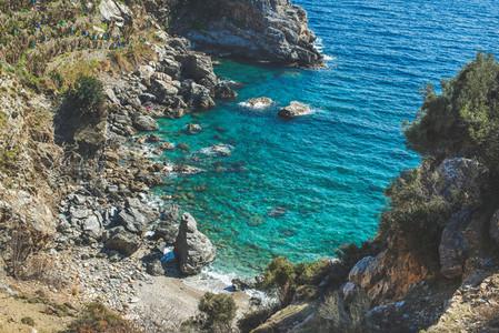 Beautiful natural clear lagoon at Mediterranean sea coast Turkey