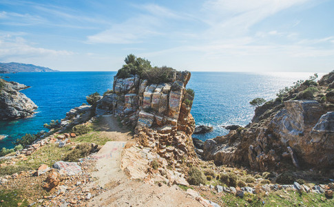 Scenic view over sea water and rocks at Mediterranean coast