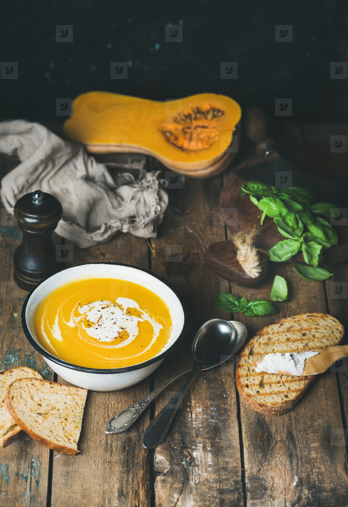 Pumpkin cream soup with fresh green basil  spices  grilled bread