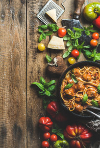 Italian pasta spaghetti with tomato sauce and meatballs