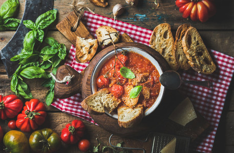 Italian tomato and garlic soup with basil bread Parmesan cheese