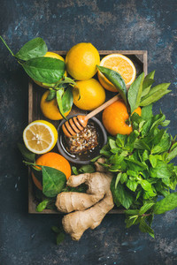 Ingredients for making warming immunity boosting natural hot drink