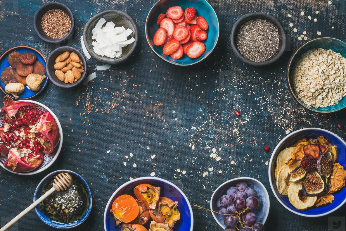 Ingredients for healthy breakfast  copy space  food frame