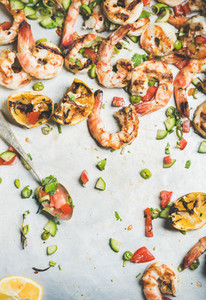 Grilled tiger prawns with lemon and mint salsa  top view