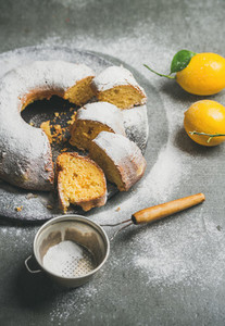 Homemade gluten free lemon bundt cake with sugar powder