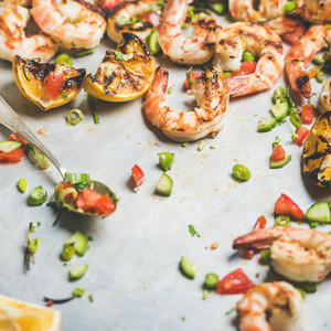 Grilled tiger prawns with lemon and mint salsa  square crop