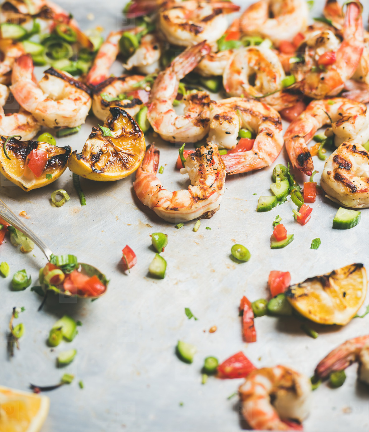 Grilled tiger prawns with lemon and mint salsa in tray