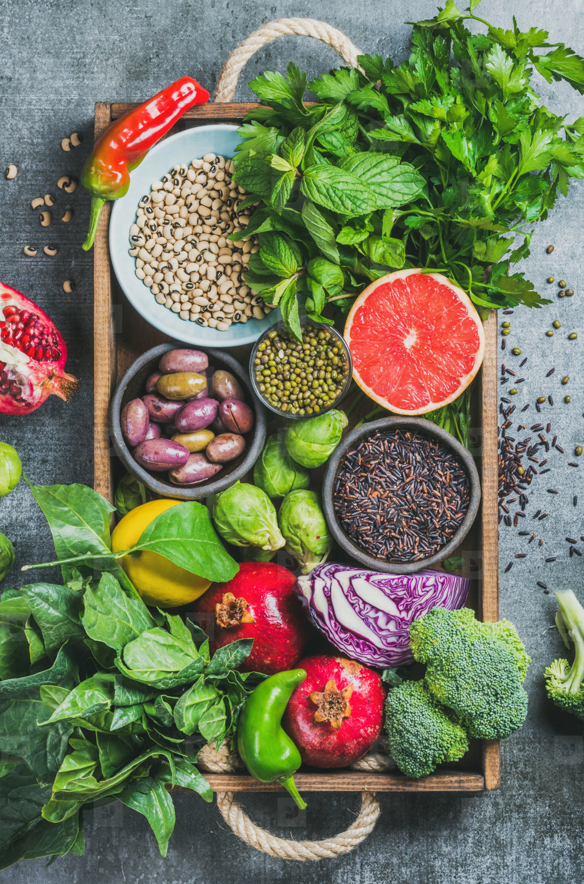 Fresh vegetables and fruits  seeds  cereals  beans  spices  superfoods  herbs