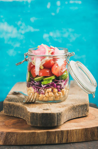 Vegetable and chickpea sprout vegan salad in jar copy cpace