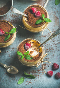 Homemade Tiramisu in glasses with raspberries and fresh mint leaves