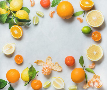 Variety of fresh citrus fruit healthy eating concept