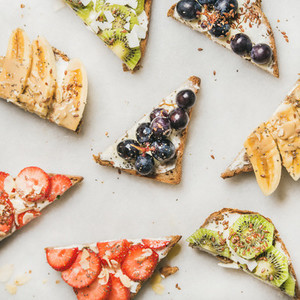Healthy breakfast toasts cut in pieces  square crop