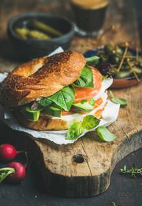Breakfast with salmon  avocado  cream cheese  basil bagel  espresso coffee