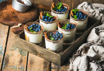 Homemade Tiramisu dessert in glasses with cinnamon  mint and blueberry