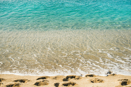 Clear water and footprints at Cleopatra beach  Alanya  Turkey