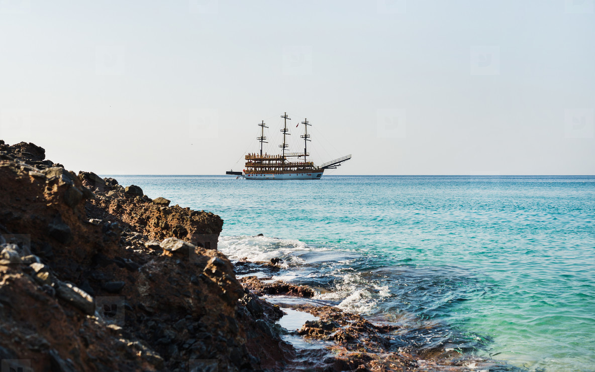 Clear water of Mediterranean sea at Cleopatra beach  Alanya  Turkey