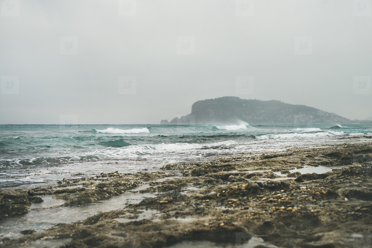 Stormy winter day at Mediterranean sea coast in Alanya  Turkey
