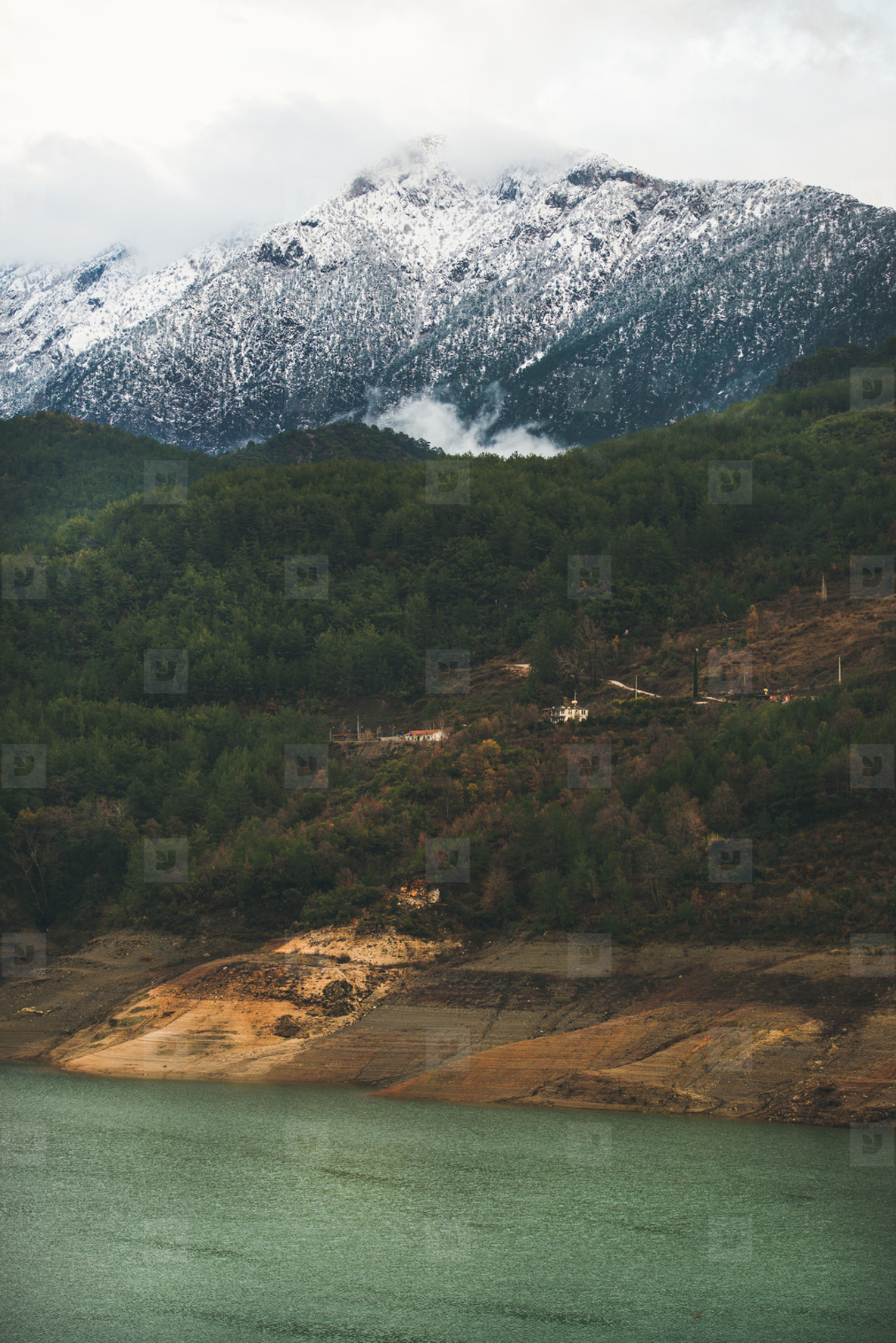 Green slopes of the Taurus mountains and Dim Cay river