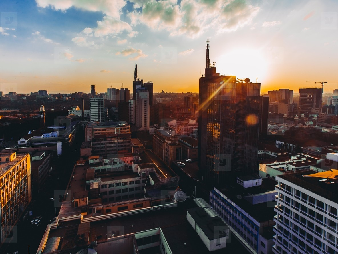 Sunset in metropolis