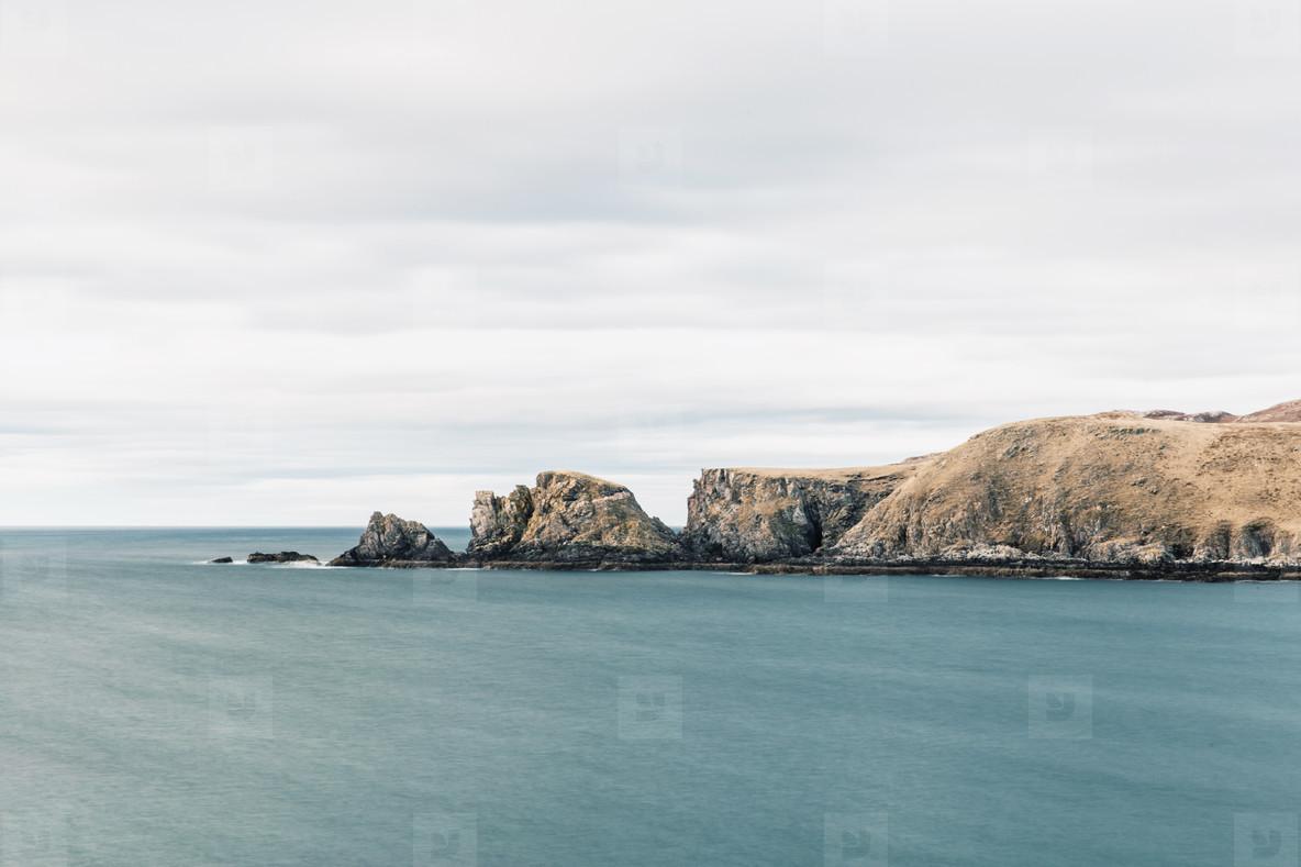 Grey sea and coast