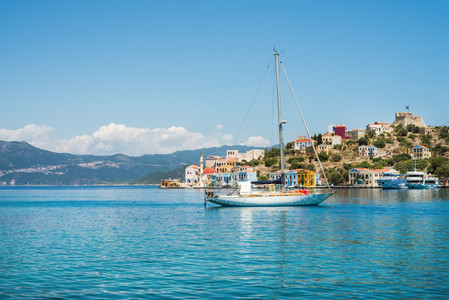 Yacht in bay of Kastelorizo island  Dodecanese  Greec