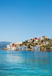 View over bay of Kastelorizo island coast  Dodecanese  Greece