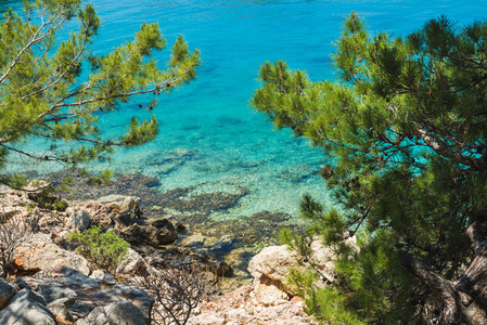 Mediterranean sea coast at Kastelorizo island  Dodecanese  Greece