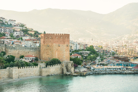 View over Red Tower Kizil Kule and ancient fortress  Alanya