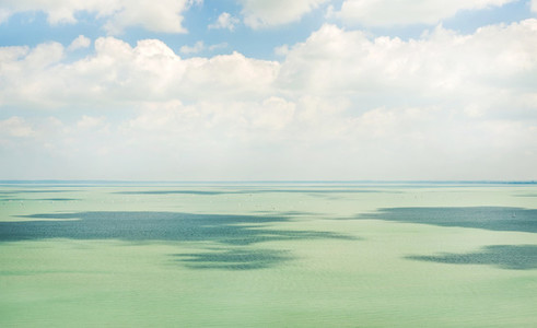 Clear still turquoise water of Lake Balaton