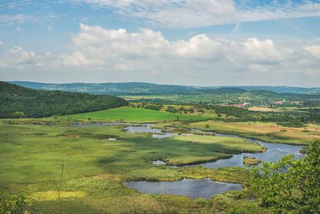 View over inner lakes and fields  Lake Balaton  Hungary