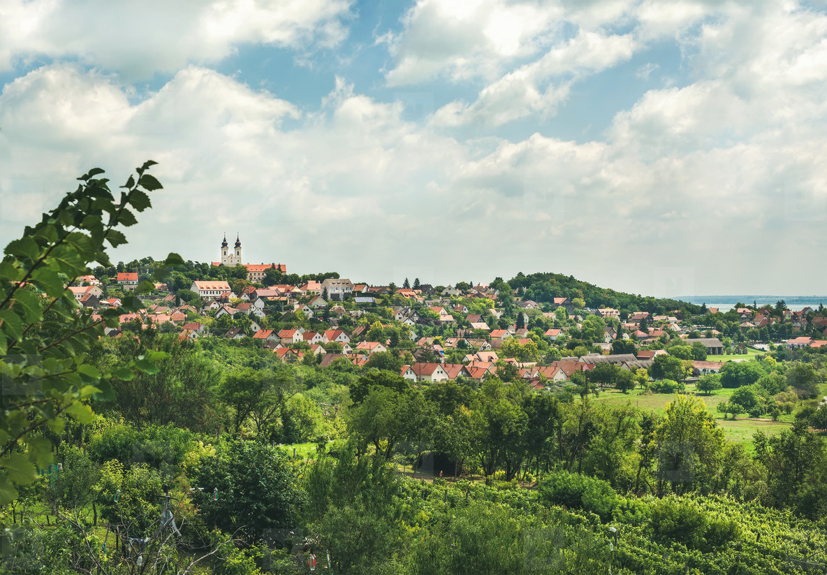 View over Tihany abbey and town on lake Balaton  Hungary