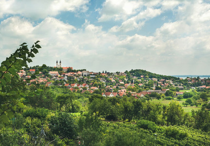 View over Tihany abbey and town on lake Balaton Hungary
