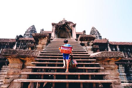 Boy climbs staircase