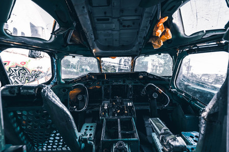 Cockpit of a ruined airplane